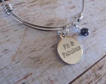 "Fitness Charm Bracelet- ""Fit & Fabulous!"" laser etched charm with an accent bead in your choice of colors"