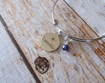 "Sparkle Charm Bracelet- ""I sparkle"" laser etched charm with an accent bead in your choice of colors"