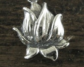 Lotus Blossom Pendants or Charm in Sterling Silver - Yoga Charms P61
