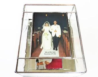 Stained Glass Keepsake Memory Gift Box 50th Anniversary Gift Golden Anniversary 8x10x4 Custom Made-to-Order