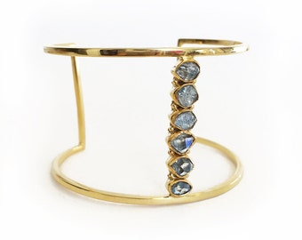 Blue Herkimer Quartz Diamond Cuff - Gold, gemstone cuff, herkimer jewelry