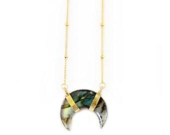 Labradorite Crescent Necklace - Labradorite necklace, delicate necklace, boho necklace