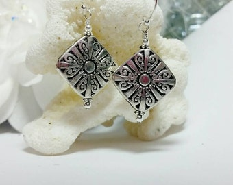Sterling silver, Pewter, and silver plated earrings