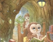 An Owl's Tale Prickles Little Hoot Saw You Waiting and Fireside Friends Print Set of 4