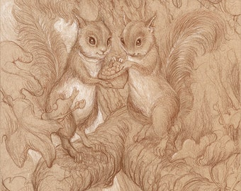 Love Squirrels 8.5x11 Signed Print with Original Doodle