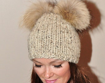 Double Pompom Beanie Hat 2 Bobble Hat 2 Fur Pom Pom Beanie Hat SALE Choose Color Ski Women Hat Kylie Jenner Style Christmas Gift under 100