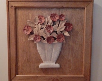 Wood Rose Wood Carving Bouquet in  Wood Vase  in a hand crafted frame 5th anniversary or wood anniversary gift wedding gift or birthday gift
