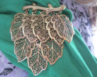 Very Large filigree eight leaf Brooch Leaves hagging from a branch