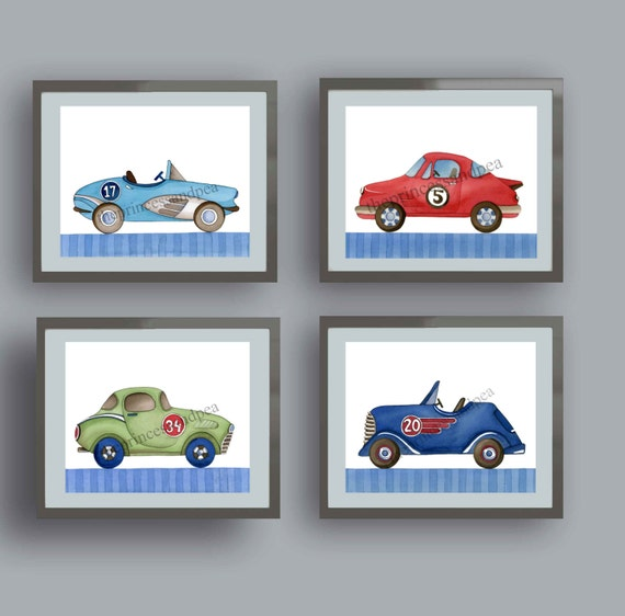 vintage race car art, race car art prints, race car bedroom, race car wall art decor, race car nursery, boy nursery art