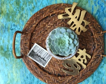 pair of brass japanese character symbol / wall hanging trivets / asian decor / blessings