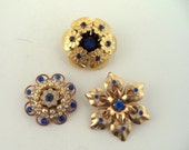 Collection Blue Rhinestone Brooches