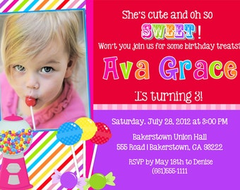 Sweet Shoppe party invitation sweet shoppe birhtday candyland invitation candyland birthday party invitation invite girl printable DIY