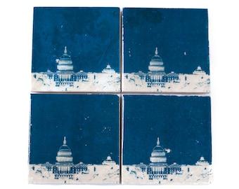 Washington DC Skyline Coaster Set (Navy & White) Cityscape Home Decor - Capitol Building Art