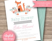 Fox Baby Shower Invitation, Woodland Baby Shower Invite, Printable Baby Shower Invite - Foxy Floral in Teal, Orange, Coral Pink & Gray
