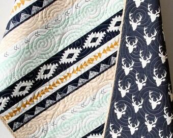 Deer Baby Quilt, Aztec Modern Bedding, Crib Cot Nursery Southwest Arizona Woodland Buck Toddler Navy Blue Gold Mint Boy Youth Blanket
