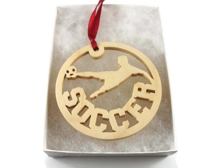 Soccer Player Kicking Soccer Ball Christmas Ornament Handmade from Birch Wood By KevsKrafts
