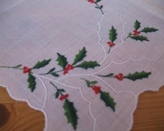 1950's Handkerchief,  Christmas Holly Hanky