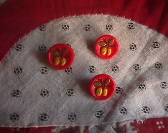 Vintage Glass Red Buttons, Set of 3, Painted Pears on glass