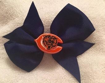 "3"" x 2"" accessory hair bow navy blue Chicago Bears D-7-33 * FINAL CLEARANCE SALE"