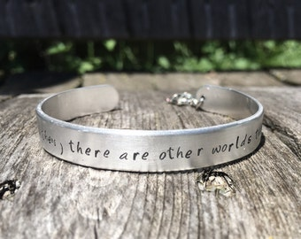 Go then, there are other worlds than these - brushed aluminum cuff with turtle charm, Dark Tower, Stephen King, Dark Tower Jewelry
