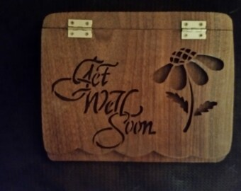 Get Well card made from walnut.