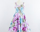 ON SALE Vintage inspired dress, Lavender and Roses Dress