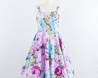Sale Vintage inspired dress, Lavender and Roses Dress - Sale