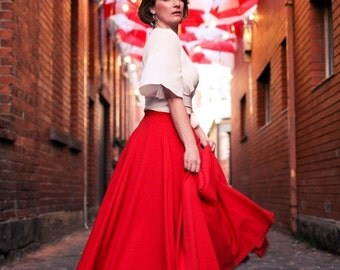 ON SALE Custom made red skirt with pockets, long circle skirt
