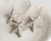 Silver Star Ornaments - Silver German Glass Glitter Stars, Set of 3