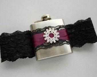 Black & Eggplant Purple FLASK GARTER, Wedding Garter with Flask, Lace Bridal Garter with Crystal Rhinestone Starburst - 21st Birthday Gift