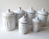 6 French Vintage White Enamelware Canisters with Lids