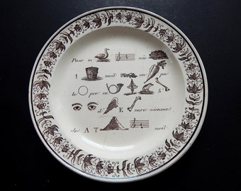 French Antique Plate Rebus Theme c.1815 to 1835