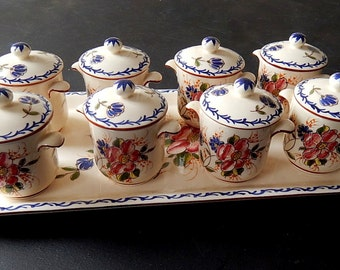 8 French Vintage Hand Painted Chocolate Pots on a Tray