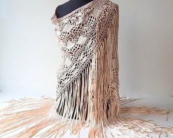 French Vintage Silk Hand Made Shawl c.1930