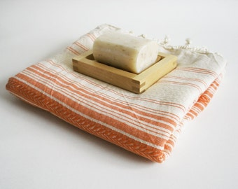SALE 50 OFF/ BathStyle / Orange-Natural / Turkish Beach Bath Towel / Wedding Gift, Spa, Swim, Pool Towels and Pareo