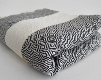 SALE 50 OFF/ Diamond Blanket / Black / Bedcover, Beach blanket, Sofa throw, Traditional, Tablecloth