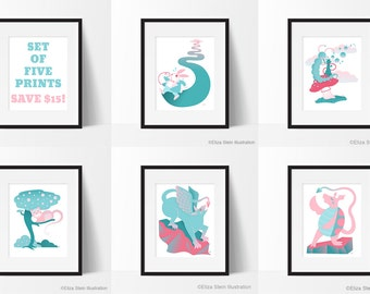 Alice in Wonderland Art Print Set, Set of 5 Prints, Caterpillar, Cheshire Cat, White Rabbit, Gryphon, Mock Turtle, Set of Five Illustrations