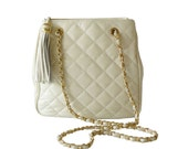 First Edition Cream Quilted Leather Crossbody Shoulder Bag Gold Chain Strap