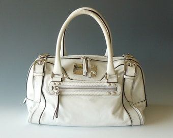 Authentic Dolce Gabbana Miss Easy Way White Leather Satchel Made in Italy