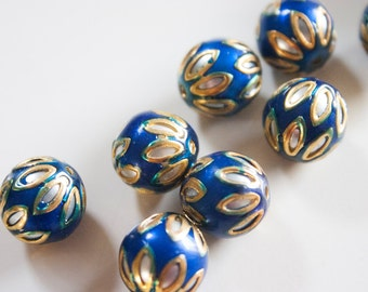 SALE Midnight Blue floral spheres - Floral Cloisonné Meena beads (2) 12mm