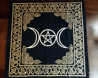 Triple Moon Altar Cloth | Black Gold Cloth, Altar Supply, Pentagram, Pentacle cloth, wiccan, witch, pagan