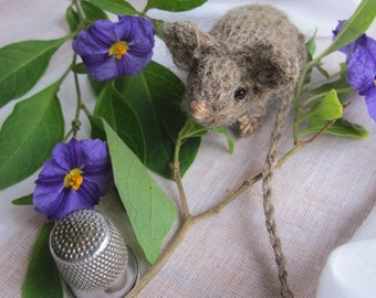 Mouse in white, grey, black/ handmade, knitted/  natural materials - alpaca or rabbit angora/ Waldorf/ Christmas, birthday gift or display