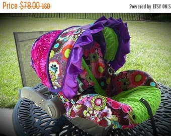 Summer SALE Bright Floral with lime minky  3d rose panel and purple ruffle-  Custom Cover- Comes with 2 reversible strap covers