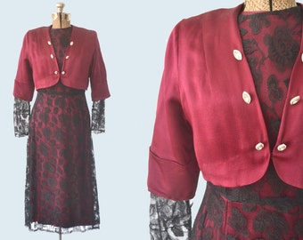 1930s Maroon Silk and Black Lace Dress size S