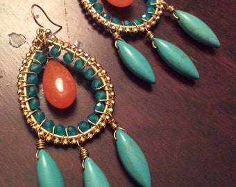 Turquoise & Orange Marmalade Gold Chandelier Earring