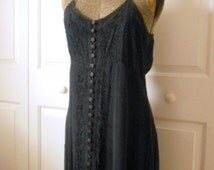 Vintage boho spaghetti strap embroidered black India maxi Dress