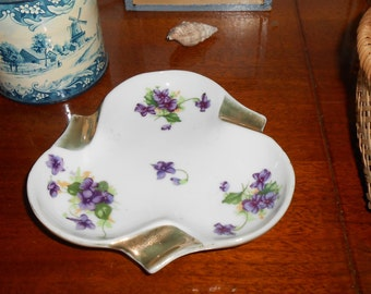 Vintage Marco Fine China Purple Violets  Flowers Ashtray