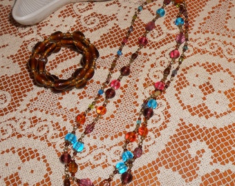 Glass Beaded Long Necklace and Brown Beaded Bracelet