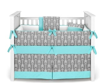 Neutral Crib Bedding / Boy or Girl Baby Crib Bedding - Arrows Gray Turquoise - Crib Bedding Set by Sofia Bedding