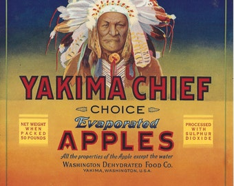 Yakima Chief Large Vintage Crate Label, 1930's
